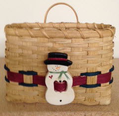 Christmas mail basket 7 1/2 long x 4  1/2 wide x 5 1/4 high Small bushel handles. Great and red accent with ceramic snow man