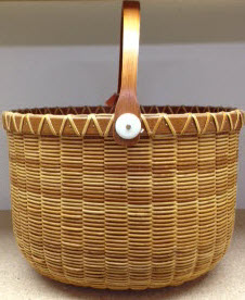 "Nantucket 11"" x 9"" Jail House with oval cherry staves rim base and handles"