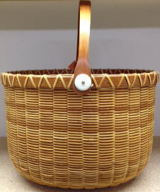 "Nantucket jail house 12"" x 20 1/2 oval x 8"" cherry staves rim base and handle"