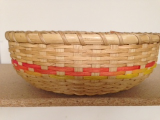 "Round tray. 12"" dia  4 1/2 high Carnival accent $35.00"